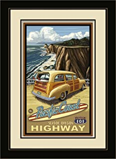 Northwest Art Mall Seaside Oregon Pacific Coast Highway 101 Framed Wall Art by Paul A. Lanquist, 13 by 16-Inch