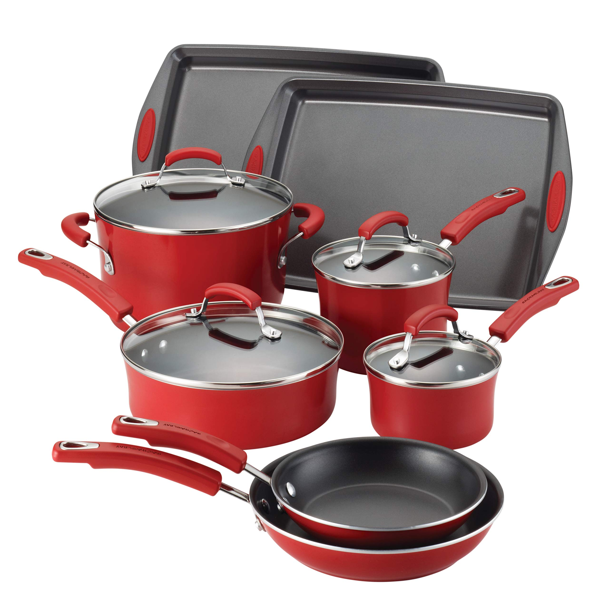 Rachael Ray Classic Brights Porcelain 4-Piece Cookware Set with Bakeware,  Red Gradient