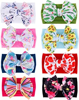 inSowni 8 Pack Big Sunflower Flower Bow Super Stretchy Nylon Headbands Turban Headwraps Hair Accessories for Baby Girls To...