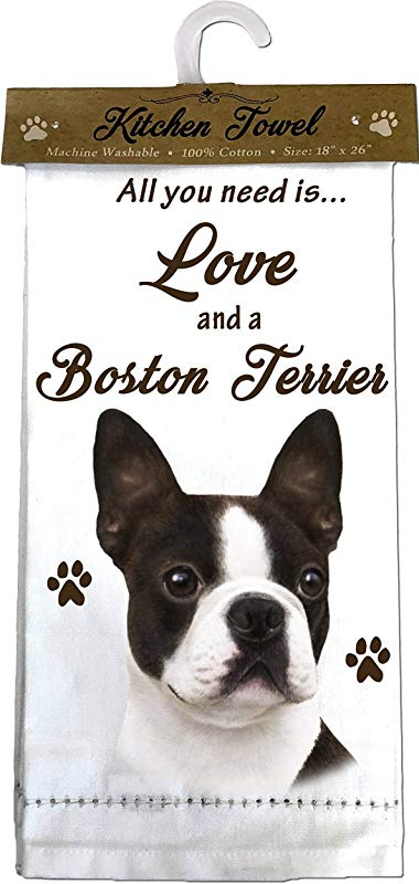 E S Pets 700 76 Boston Terrier Kitchen Towels Off Off White