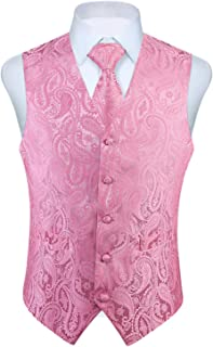 Chaleco para hombre Paisley Floral Jacquard Corbata Bolsillo Cuadrado Panuelo Conjunto Traje