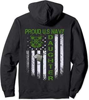 Vintage Flag Proud US Navy Daughter Dog Tags Military gift  Pullover Hoodie