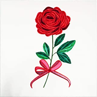 Quilling Love Rose - WOW Greeting Card for All Occasions Birthday, Love, Anniversary, Good Bye, Thank you, Mother Day, Valentine, Wedding, Friendship, Get Well - Handmade Quilled, Premium Paper