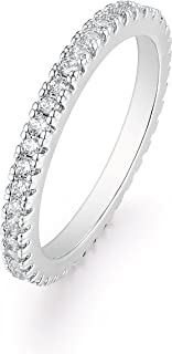 Barzel 18K White Gold or Rose Gold Plated Round-Cut CZ Single Row Eternity Ring