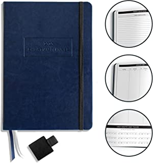 """$29 » Christian Planner 2020 Planner, Bible Journal, and Gratitude Journal   7""""x10"""" Lay Flat Hardcover Vegan Leather Journal with Thick No-Bleed Paper   Month, Week & Daily Organizer (Navy Blue)"""
