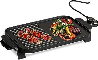 Relaxdays Elektrische tafelgrill, met temperatuurregelaar, elektrische grill 1500 watt, combi-grillplaat 38 x 26 cm, zwart