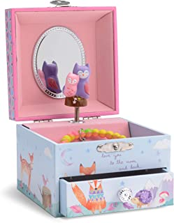 JewelKeeper Musical Jewelry Box with Spinning Owls, Woodland Design with Pullout Drawer, Twinkle Twinkle Little Star Tune