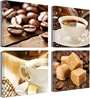 Kitchen Decorations theme Sets Coffee Decor Wall Coffee Bean Cup Pictures Canvas Prints Kitchen Art Dining