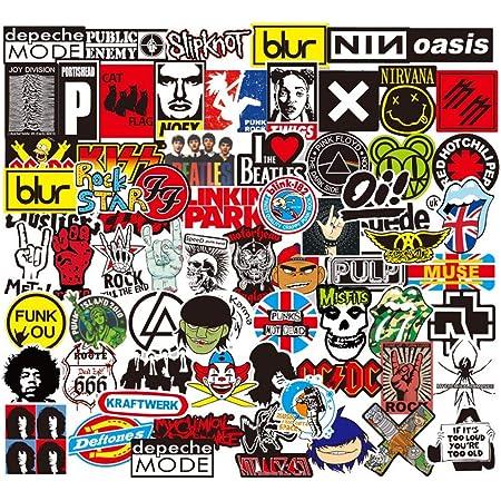 Sanmatic Pegatina de Rock and Roll 100Pcs, Pegatina Bomb Pack para Guitarra Batería Auriculares Etiqueta engomada de la música del Ordenador portátil