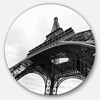 Designart Paris Eiffel Tower in Black and White Side View Cityscape Metal Artwork Disc of 23 inch, 23X23-Disc