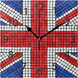 XiangHeFu Wall Clock,Square 8x8 Inches Silent Abstract UK Flag Decorative for Home Office School