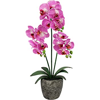 in Tall Cement Pot 70cm Elegant Pink Real Touch Artificial Potted Orchid