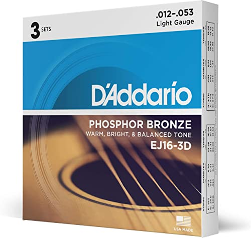 D'Addario EJ16-3D Phosphor Bronze Acoustic Guitar Strings, Light Tension – Corrosion-Resistant Phosphor Bronze, Offer...