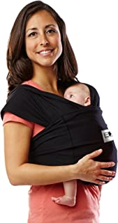Baby K'tan Original Baby Wrap Carrier, Infant and Child Sling - Simple Wrap Holder for Babywearing - No Rings or Buckles - Carry Newborn up to 35 lbs, Black, M (W dress 10-14 / M jacket 39-42).