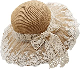 Little Girl Kids Summer Straw Hat Wide Brim Floppy Beach Sun Visor Hat