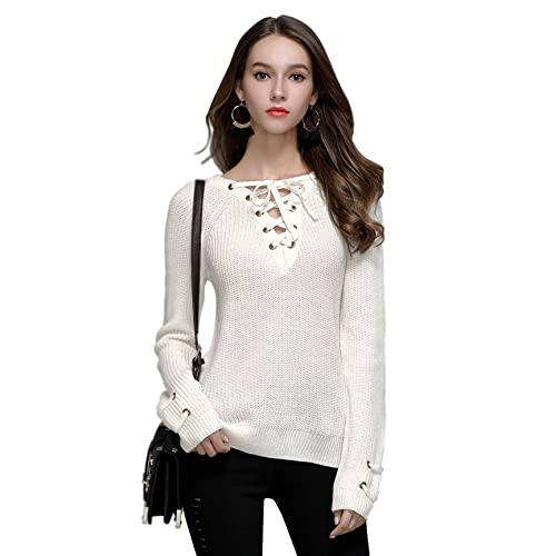 aab715f2922 Moxeay Women s Lace Up Front V Neck Long Sleeve Knit Pullover Sweater Top