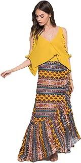 Boho Chic Native Stripe Ruffle Wrap Skirt