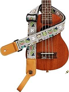 "MUSIC FIRST Original Design Cute Cartoon ""Watermelon Cat"" Soft Cotton & Genuine Leather Ukulele Strap Ukulele Shoulder Strap With a MUSIC FIRST Genuine Leather Strap Locker"