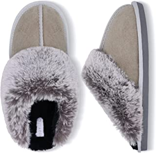 Besroad Winter Fuzzy House Slippers Sandals Plush Faux Fur Fluffy Flats Slippers Warm Slide Shoes for Women