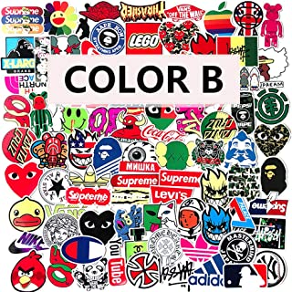 Laptop Stickers Vinyl Waterproof Graffiti - 98 Pack Brand Logo Decals Suitable for Water Bottle Car Motorcycle Bicycle Bumper Skateboard Helmet Luggage Phone Case Decoration Gift [No-Duplicate] - B