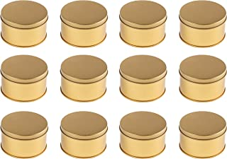 Juvale Gold Metal Round Jar Tins with Slip-On Lids, (12 Pack) 3 x 1.5 Inches