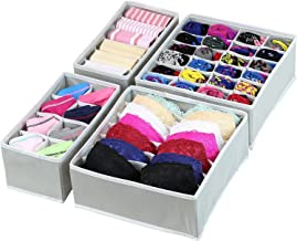 House of Quirk Set of 4 Foldable Storage Box Drawer Divider Organizer Closet Storage for Socks Bra Tie Scarfs - Grey