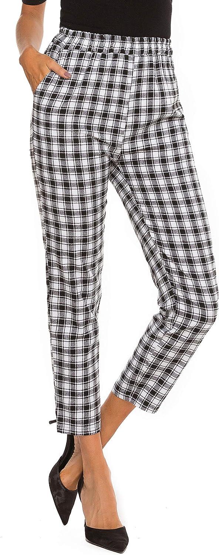 HUILAN Women's Plaid Casual High Waist Pants