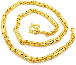 Chain Gold 22k 23k 24k Thai Baht Yellow Gold Plated Necklace 18 Inch 33 Grams Width 5 mm Jewelry Women