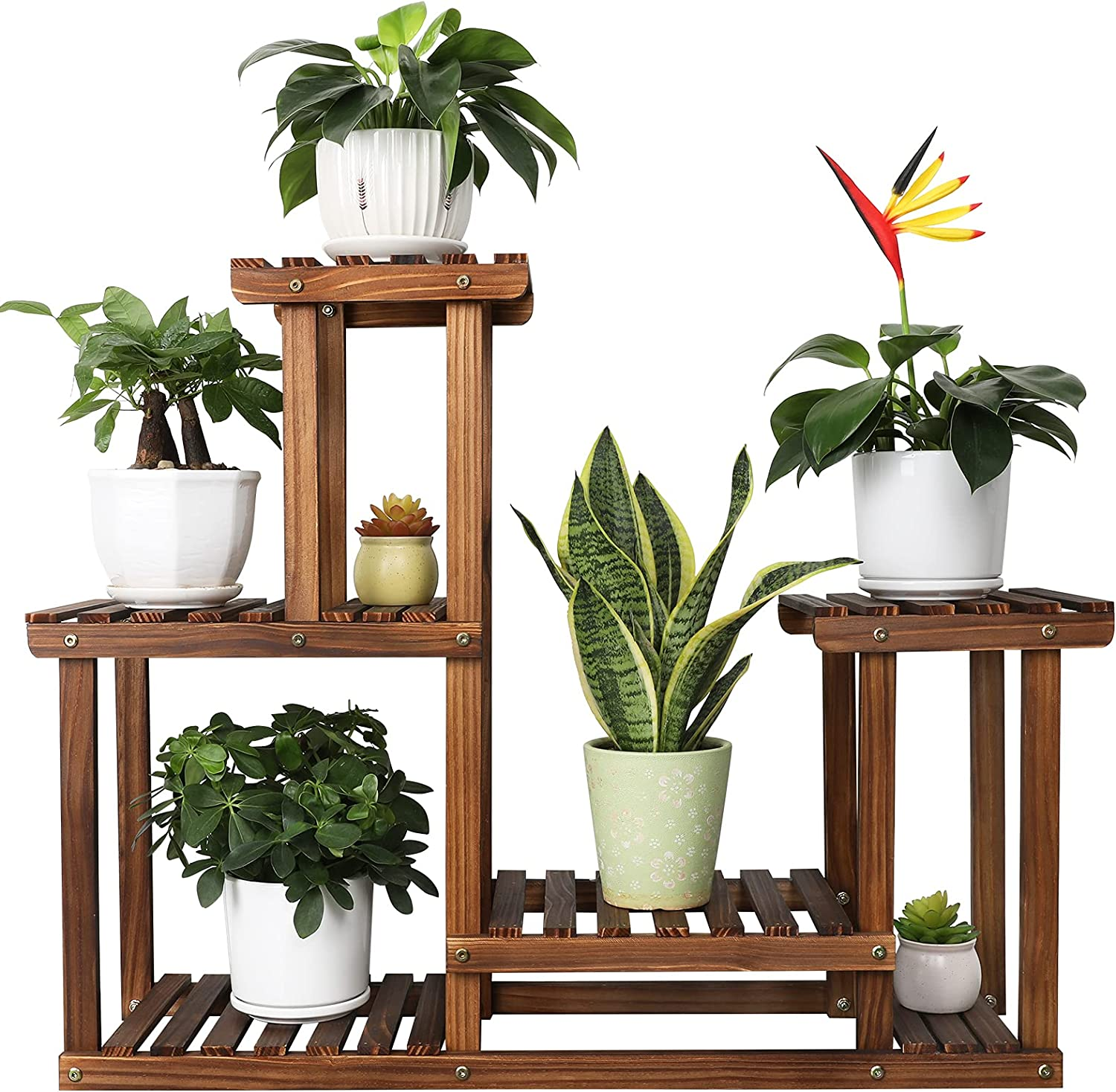 Jotsport 4 Tier High-Low Indianapolis Mall Plant Wood Shelv Dealing full price reduction Multi-Tier Stand
