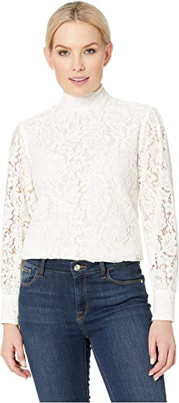 Petite Lace Mock Neck Top