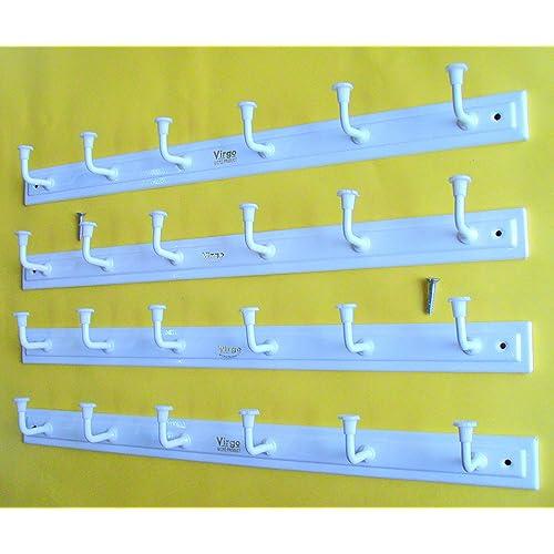 Bhagwati Door / Wall Hook Hanger - 6 Hook Cloth Hanger With Screws (Set Of 4,WHITE ELEGANT)