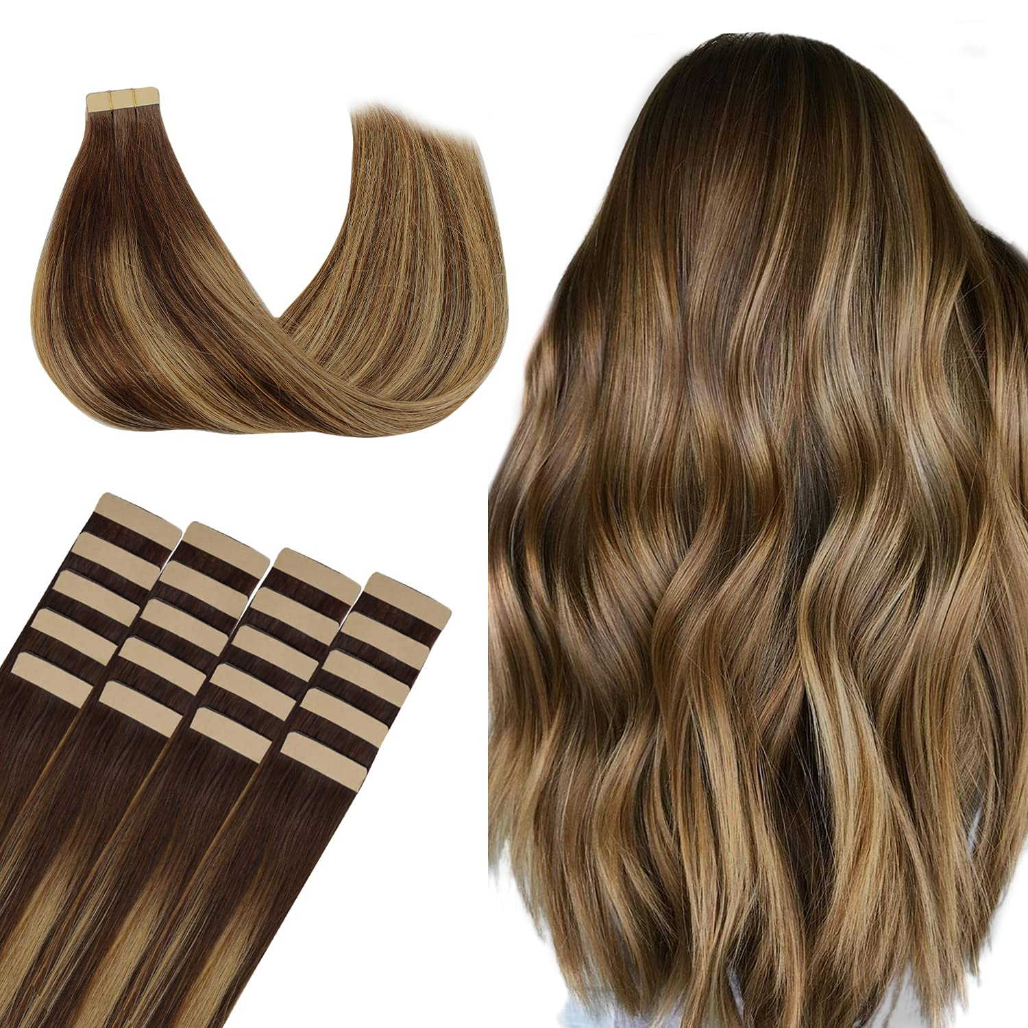 WENNALIFE Direct sale of manufacturer Tape in Human Hair Chocolate Bro Extensions 50g Dedication 20pcs