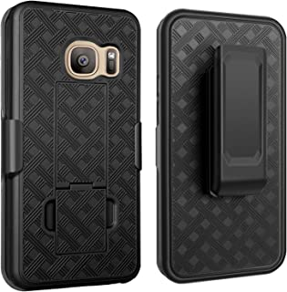 Galaxy S7 Case, Samsung Galaxy S7 Case,Fingic Slim Shell Holster Combo Cover with Kick-Stand and Swivel Belt Clip Holster Protective Case for Samsung Galaxy S7 (G930), Black