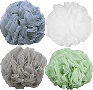 Goworth Large Bath Shower Sponge Pouf Loofahs 4 Packs 60g Each Eco-friendly Exfoliating Mesh Brush Pouf Bath Shower Ball Sponge 4 Colors-Exfoliate, Cleanse, Soothe Skin