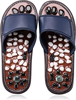 BYRIVER Therapeutic Acupuncture Massage Flip Flops for Men Women Foot Relaxation Massager Plantar Fasciitis (01 BL27)