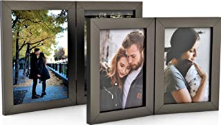 2 Pack Double Wood Hinged Picture Frames, Double Photo Frame for Table Desk Top, Hinged Frame 2 Picture Displays, Handmade (4x6 + 5x7, Black)