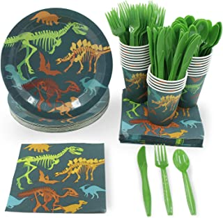 Disposable Dinnerware Set - Serves 24 - Dinosaur Themed Party Supplies for Kids Birthdays, Dino Fossil Skeleton Design, Includes Plastic Knives, Spoons, Forks, Paper Plates, Napkins, Cups