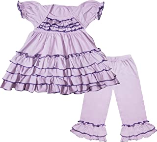 Angeline Boutique Clothing Girls Seersucker Tiered Tunic & Bell Flare Pant Set - Back to School Outfit