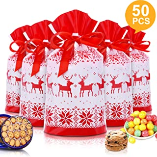"""50pcs Christmas Candy Cookies Drawstring Gift Bags 7""""×4"""", Plastic Treat Bags with Bow-Tie for Birthday Party Wedding Favor,M"""