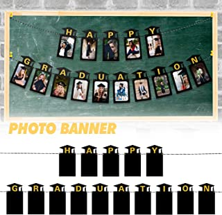 LINGPAR Happy Graduation Photo Banner - 2020 Black Gold Perfect Congrats Grad Decor Party Supplies