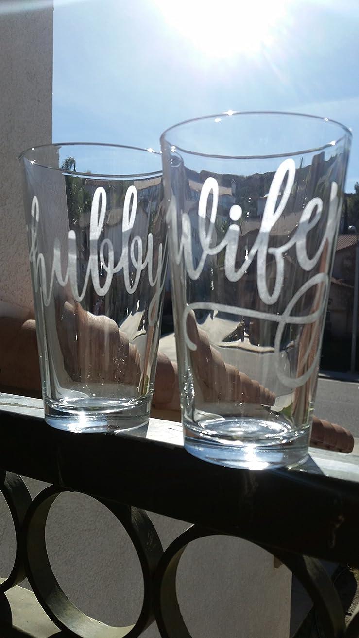 Wedding Pint Glass Set Hubby Wifey Just Married