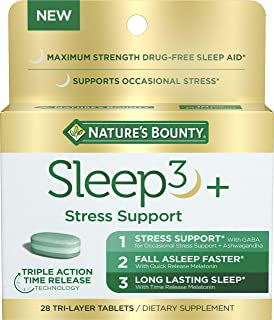 Stress Support Melatonin by Nature's Bounty, Sleep3 Maximum Strength 100% Drug Free Sleep Aid, Dietary Supplement with Ash...