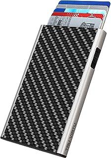 TRU VIRTU® Tarjetero Click & Slide Fibra de carbón Negro/Plata I Estuche para Tarjetas de crédito I Tarjetero con protecci...