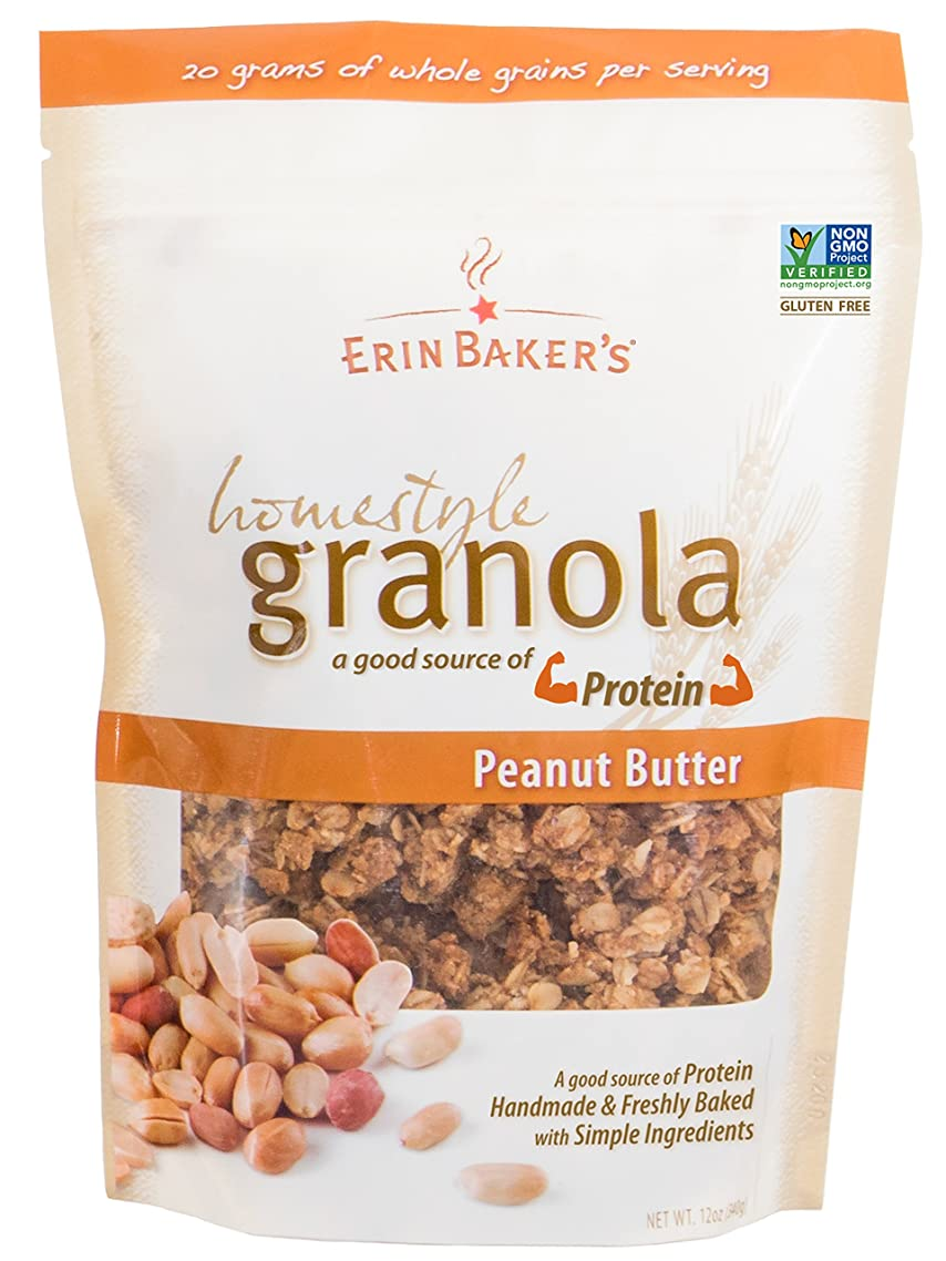 Erin Baker's Homestyle Granola, Peanut Butter, Gluten-Free, Ancient Grains, Vegan, Non-GMO, Cereal, 12-ounce bags (Pack of 6)