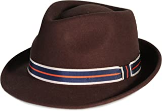 City Hunter Pmw87 Pamoa Wool Felt Fedora with 3 Stripe Trim-Black