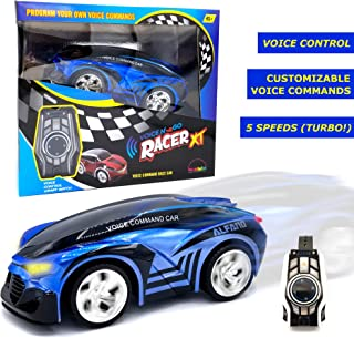 MUKIKIM Voice N' Go Racer Xt – Blue. Voice Controlled Race Car (Customizable) & Watch Controller. 5 Speed (Turbo) + 12 Color LEDs Options + Engine Sound! 2.4Ghz & USB Rechargeable