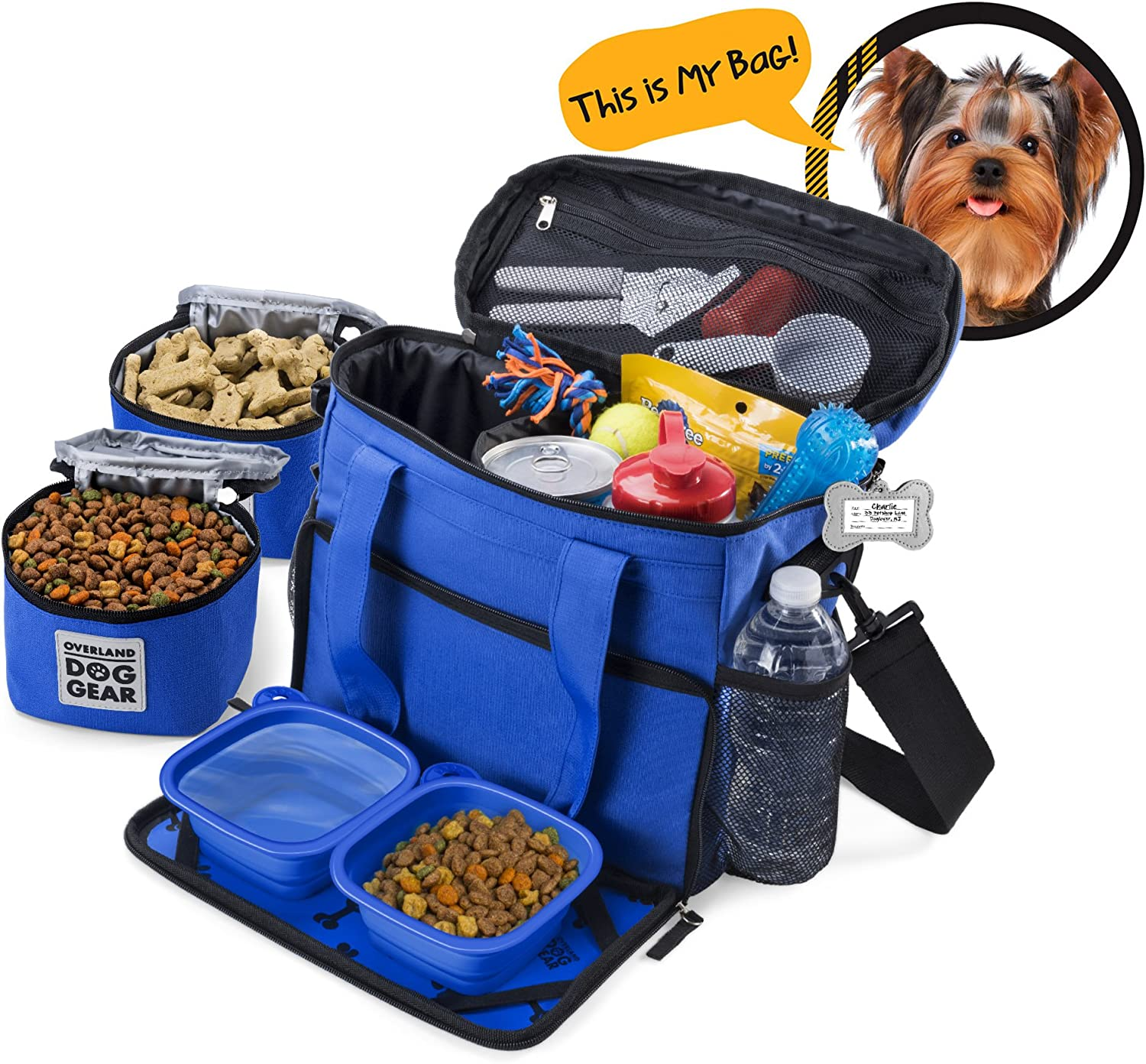 Dog Travel Bag  Week Away Tote For Small Dogs  Includes Bag, 2 Lined Food Carriers, Placemat, and 2 Collapsible Bowls
