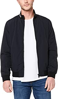 Calvin Klein Jeans Men's Institutional Logo Collar Nylon Jacket, Ck Black, L
