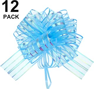 12 Pieces Pull Bow Large Organza Pull Bow Gift Wrapping Pull Bow with Ribbon for Wedding Gift Baskets, 6 Inches Diameter (Light Blue)