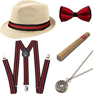 Coucoland 1920s Gatsby Costume for Men Accesories Set (Panama Hat Elastic Y-Back Suspender Bow Tie Pocket Watch and Plasti...
